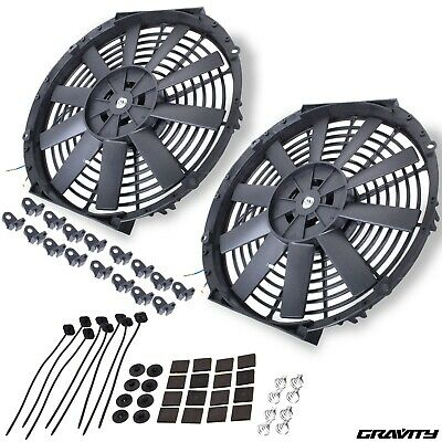 "14"" 12V Electric Race Rally Fast Road Car Straight Blade Radiator Rad Fan Pair"
