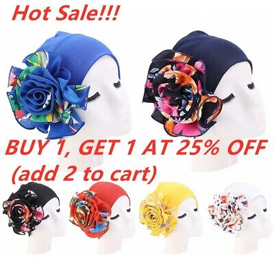 Style Hair Loss Head Scarf Headwear Cancer Chemo Hat Big Flower Turban Cap