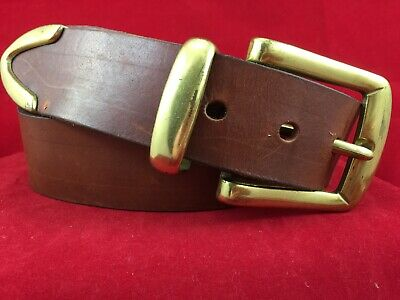"""Brown Leather Work Belt 1.5"""" Wide w Brass Tone Buckle 28 Small Argentina Rugged"""