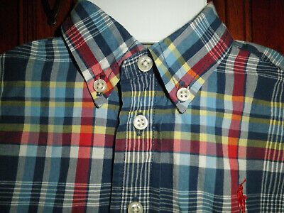Ralph Lauren 9 Month Short Sleeve Shirt Blue Red Yellow Cotton Check Polo Pony