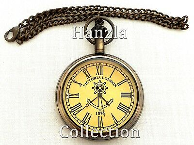 Nautical Brass Victorian Dial Pocket Watch~Antique Collectible Clock With Chain