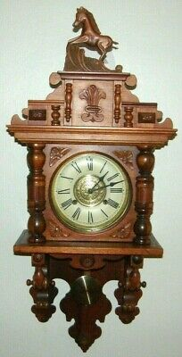 Vintage Ornate Wood Horse Wall Regulator Clock Key Wind Striking Free Swinger