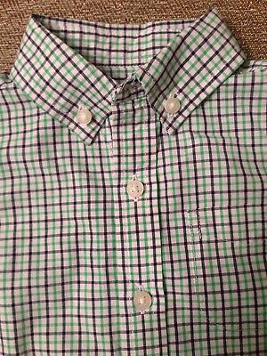 JANIE AND JACK Boys 6-12 Months Plaid Button Dress Shirt Blue Green White Long S