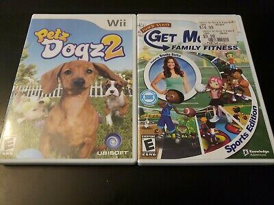 Nintendo Wii Family Game Lot Petz Dogz 2 & Get Moving Family Fitness Tested (G2)