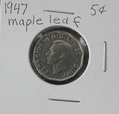 Canada NICKEL 5 cent coin Maple Leaf 1947 King George VI beaver