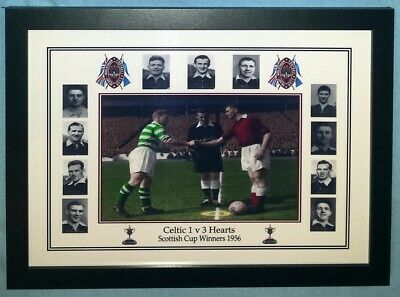 Hearts Heart of Midlothian FC 1956 Scottish Cup Framed A4 Colorised Print