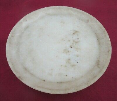 1850's Indian Antique Old Rare Hand Carved White Marble Stone Round Eating Plate