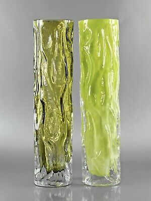 Retro Glass #31 - Two German INGRID Vintage 60s 70s Green Bark Textured Vases
