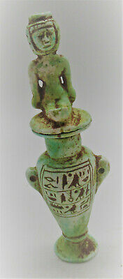 Superb Ancient Egyptian Glazed Faience Amphora Vessel With Heiroglyphics