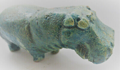 Rare Ancient Egyptian Glazed Faience Hippopotamus Statuette