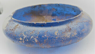 Very Rare Circa 200-300Ad Ancient Roman Aque Blue Glass Bowl