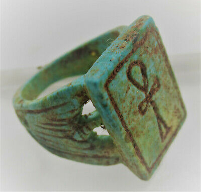 Superb Ancient Egyptian Glazed Faience Ring With Anhk On Bezel