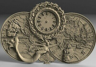 3D STL Models # WALL CLOCK MAP  MERMAID# for CNC Aspire Artcam 3D Printer 3D MAX