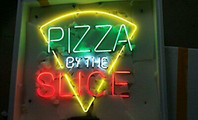 "New Pizza By The Slice Neon Light Sign 24""x20"" Beer Bar Real Glass Lamp Poster"