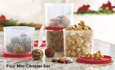 TUPPERWARE 4 Pc 20oz Mini Canister Set-Storage/Snack Containers-Red NEW
