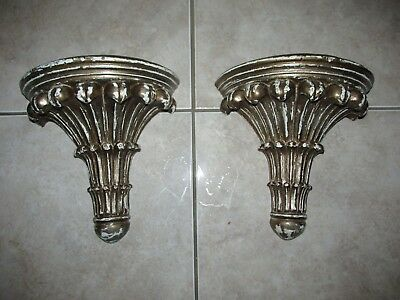 Vintage PAIR Wall Shelves ~ Ornate Hollywood Regency ~ Shabby Distressed