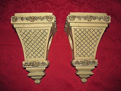 Vintage ORNATE Hollywood Regency Shabby Style Curtain/Drapery Rod Holders~PAIR