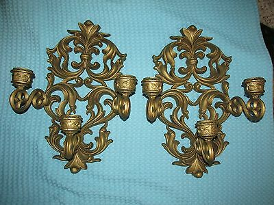 Vtg LG Hollywood Regency Floral Triple Candle Wall Sconce~1970~PAIR