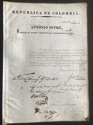 Antonio Sucre Original Signed Document 22 July 1822