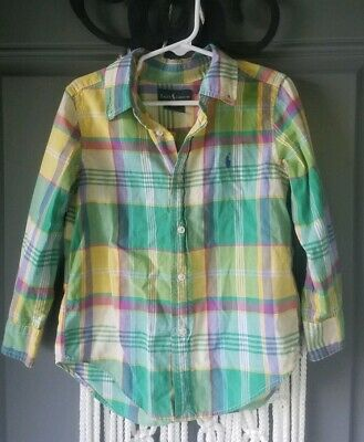 Boys Toddler 4t Ralph Lauren Button Down Oxford Plaid Easter Green Yellow Pink