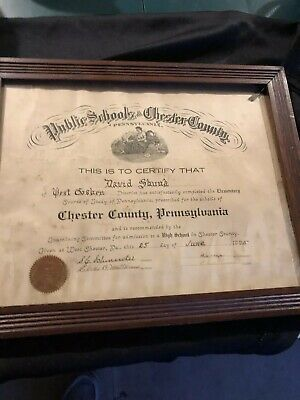 Large, 1925 High School Diploma Chester County PA Old Antique Framed