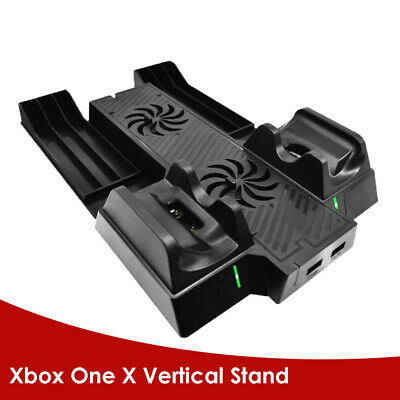 USB Dual Cooling Fan Charging Dock Station Vertical Stand For Xbox One X Console