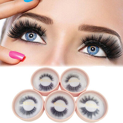 FP- BL_ AU_ 1 Pair Handmade Faux Mink Eyelashes Natural Long 3D False Lashes Mak