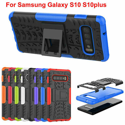 Case Cover For Samsung Galaxy S10 S10 plus Shock Proof Rubber Armor Hybrid Stand