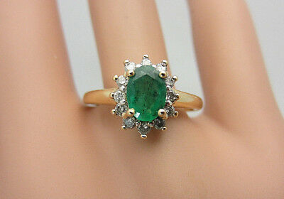 14K Yellow Gold 0.80 CT Colombian Emerald and Diamond Ring 1.04 ct