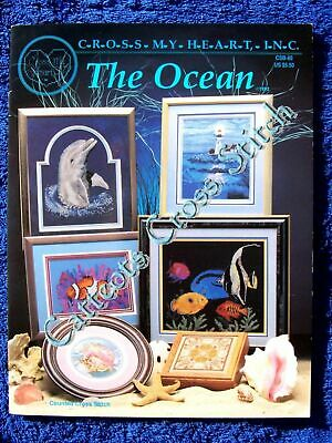 Cross Stitch Pattern The Ocean Cross My Heart Dolphin Shell Fish Whale Coral OOP