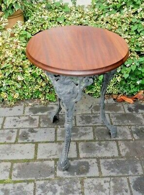 Cast Iron and Mahogany Pub Table (271P)