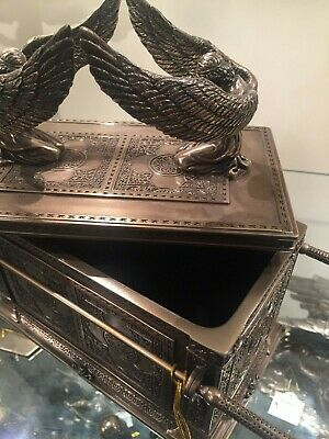 Ark of The Covenant BOX Statue Bronze color Religious Angel Wings NEW $225