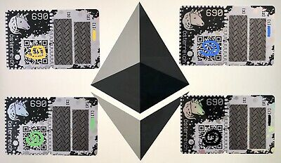 CRYPTO STAMP - SET of 4x STAMPS in YELLOW, BLUE, GREEN, BLACK unused ETHEREUM