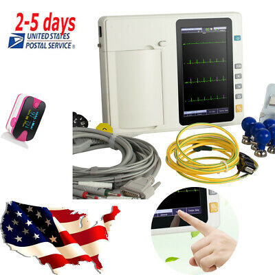 7''Touch LCD Digital 6Channel 12 Lead Electrocardiograph ECG/EKG Medical Tool CE