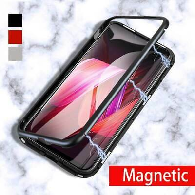 Magnetic Metal Frame Tempered Glass Back Cover Case For iPhone XS Max X 7 8 Plus