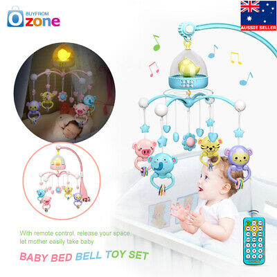 Baby Crib Mobile Bed Cot Night Light Hanging Bell Toy Music Box + Remote Control