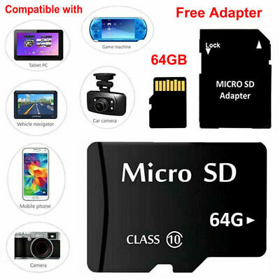 64 GB Micro SD Card Class 10 TF Flash Memory Card With Free Adapter NEW