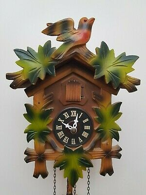Vintage Colorful Black Forest Bird Nest Cuckoo Clock in perfect condition