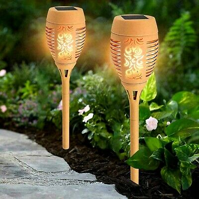 2 x CREAM SOLAR FLAME TORCH LIGHTS STAKE FLICKERING OUTDOOR GARDEN LED LIGHTS
