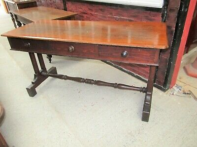 Pitch Pine Victorian Writing Table/Desk with End Support Legs.