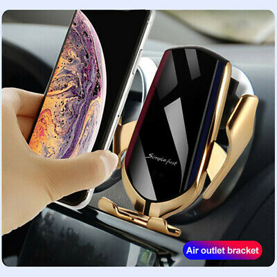 NEW Qi Fast Charging Wireless Charger Car Mount Phone Holder Automatic Clamping