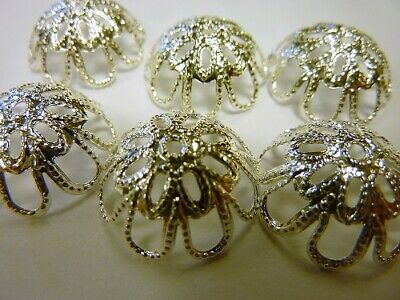 12 x Filigree Bead Caps 18mm Flower Dome Jewellery Making Silver Plated