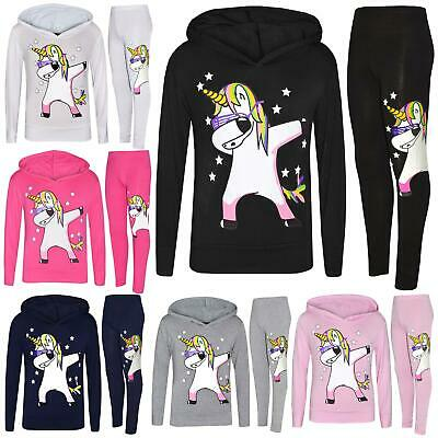 Kids Girls Rainbow Unicorn Dab Floss Hooded Top Legging Set Tracksuit 7-13 Years