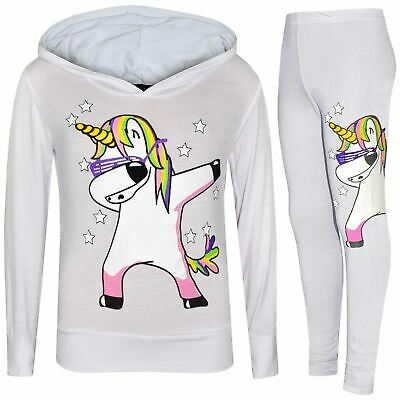 Kids Girls Rainbow Unicorn Dab Floss White Hooded Top Legging Set Tracksuit 7-13