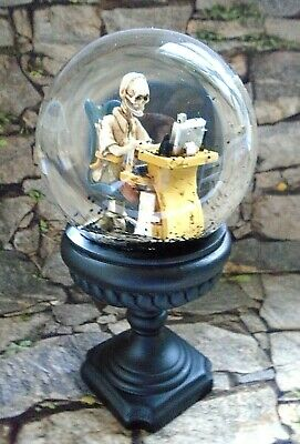 Hallow Home Skeleton with Headset on Office Computer Black Pedestal Snowglobe