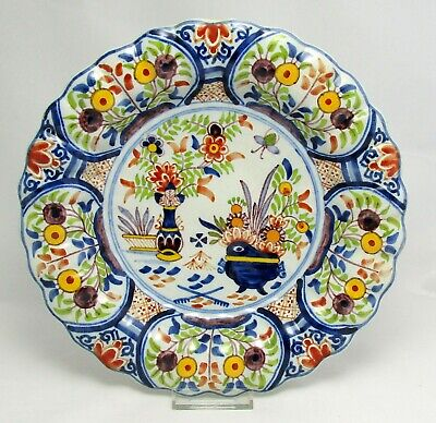 1890- Antique Tichelaar Makkum lobed/pleated plate or bowl in Polychrome colors