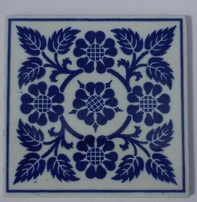 Stylish Victorian tile blue & white block printed by Minton Hollins.