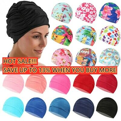 Swimming Cap Pool Bathing Hats Long Hair Protect Elastic Nylon Turban