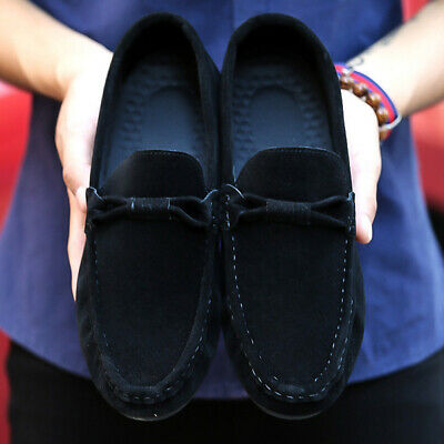 Mens Comfy Formal Casual Suede Driving Flat sole Slip on Loafers Boat Shoes