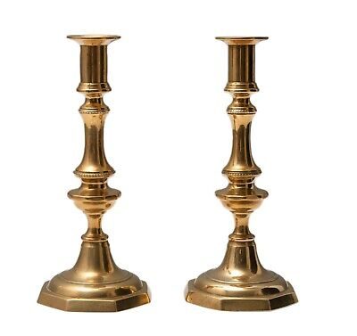 Pair Antique Victorian Brass Candlesticks Hexagonal Bases and Original Ejectors